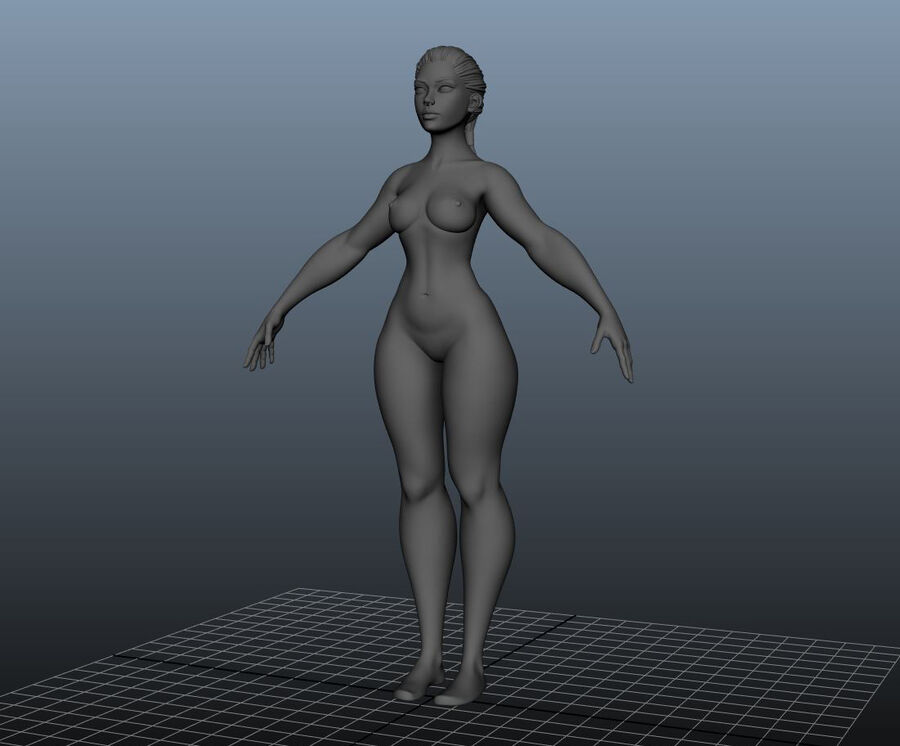 Corpo Feminino Basemesh 11 royalty-free 3d model - Preview no. 18