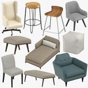 Bancos e cadeiras contemporâneas, bancos, pufe e banco 3d model