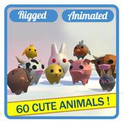 36 söta djur - stort paket 3d model