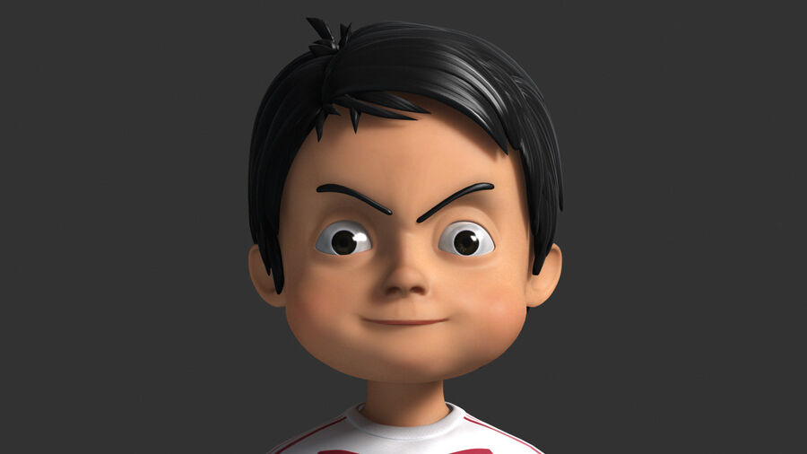 Cartoon football Boy Character royalty-free 3d model - Preview no. 6