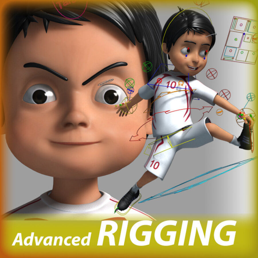 Cartoon football Boy Character royalty-free 3d model - Preview no. 1