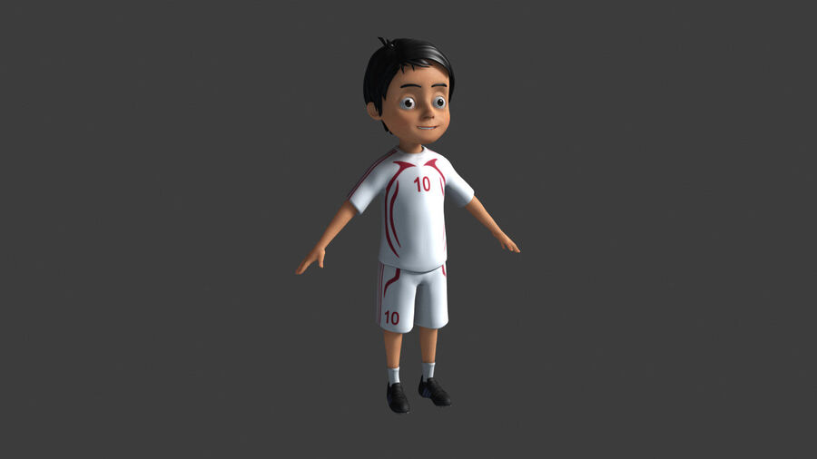 Cartoon football Boy Character royalty-free 3d model - Preview no. 2