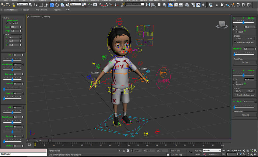 Cartoon football Boy Character royalty-free 3d model - Preview no. 7