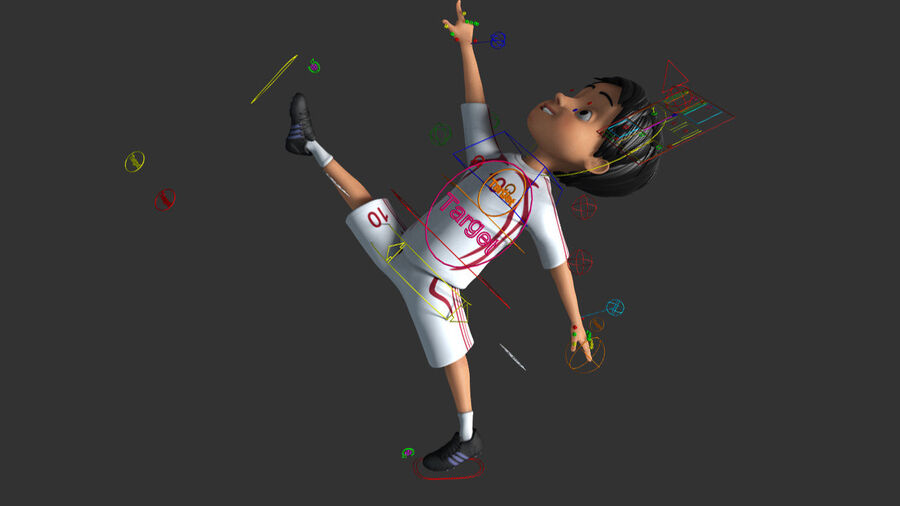 Cartoon football Boy Character royalty-free 3d model - Preview no. 5