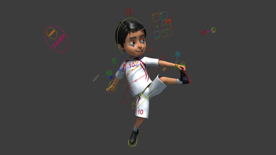 Cartoon football Boy Character royalty-free 3d model - Preview no. 4
