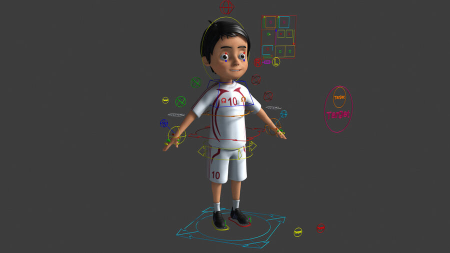 Cartoon football Boy Character royalty-free 3d model - Preview no. 3