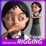 Cartoon school  Girl rigged 3d model