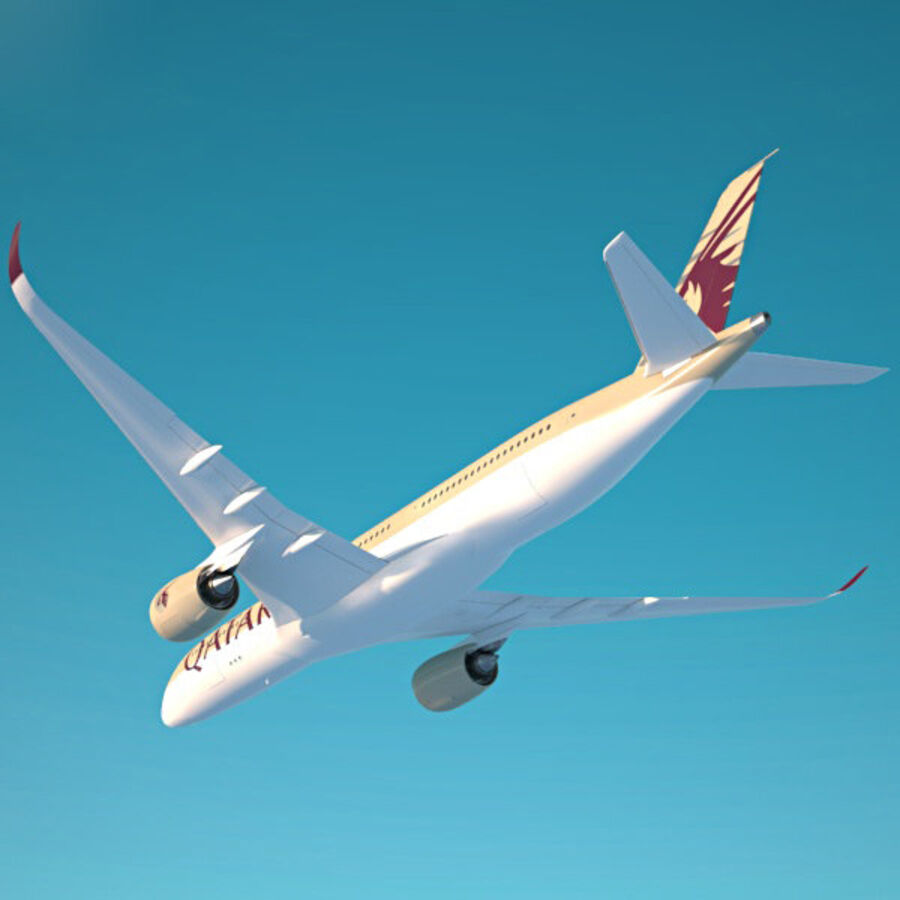 空中客车A350-900 royalty-free 3d model - Preview no. 10