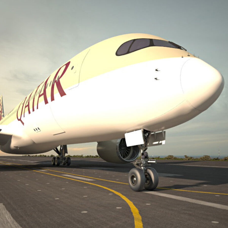 空中客车A350-900 royalty-free 3d model - Preview no. 4