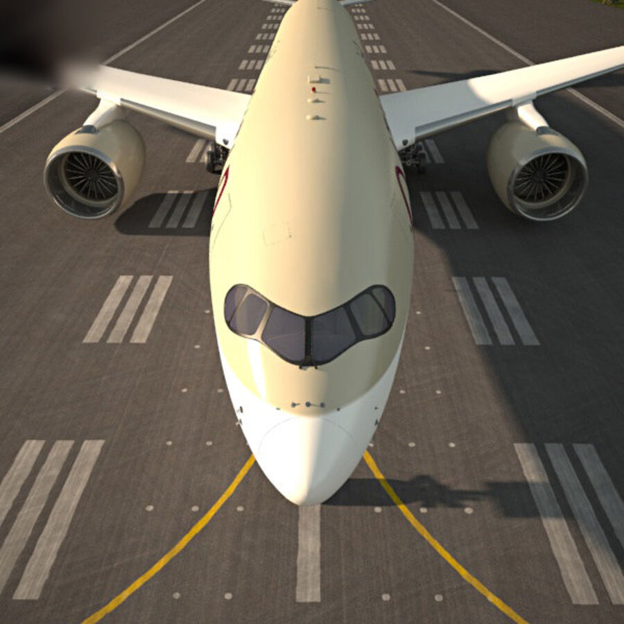 空中客车A350-900 royalty-free 3d model - Preview no. 6