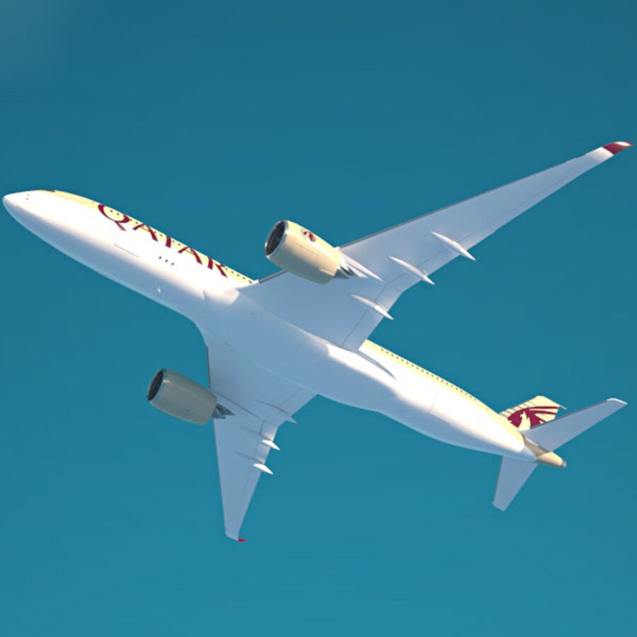 空中客车A350-900 royalty-free 3d model - Preview no. 8