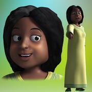 Donna africana del fumetto truccata 3d model
