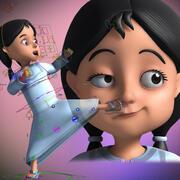 Cartoon Arab girl Rigged 3d model