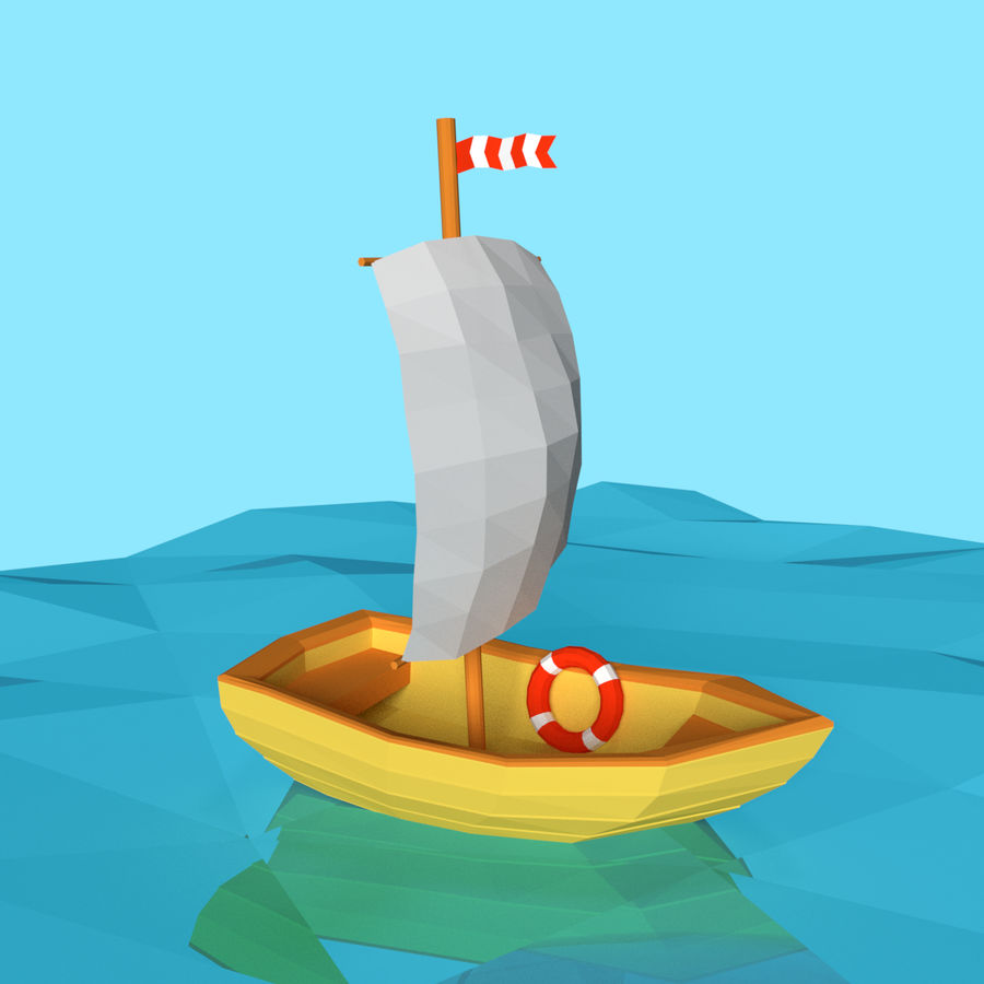 Cartoon Segelboot royalty-free 3d model - Preview no. 1