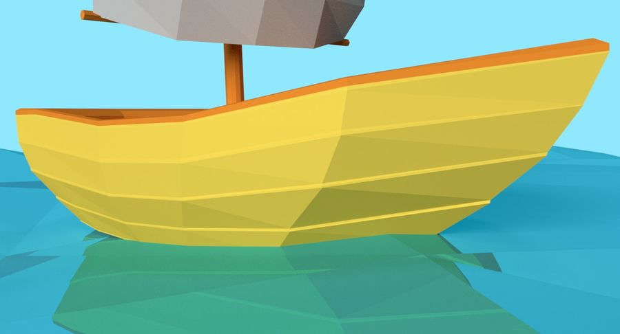Cartoon Segelboot royalty-free 3d model - Preview no. 5