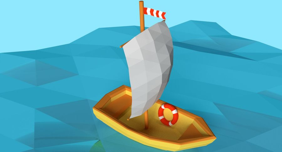 Cartoon Segelboot royalty-free 3d model - Preview no. 3