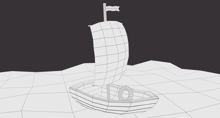 Cartoon Segelboot royalty-free 3d model - Preview no. 8
