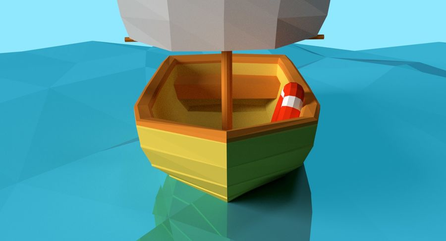 Cartoon Segelboot royalty-free 3d model - Preview no. 7