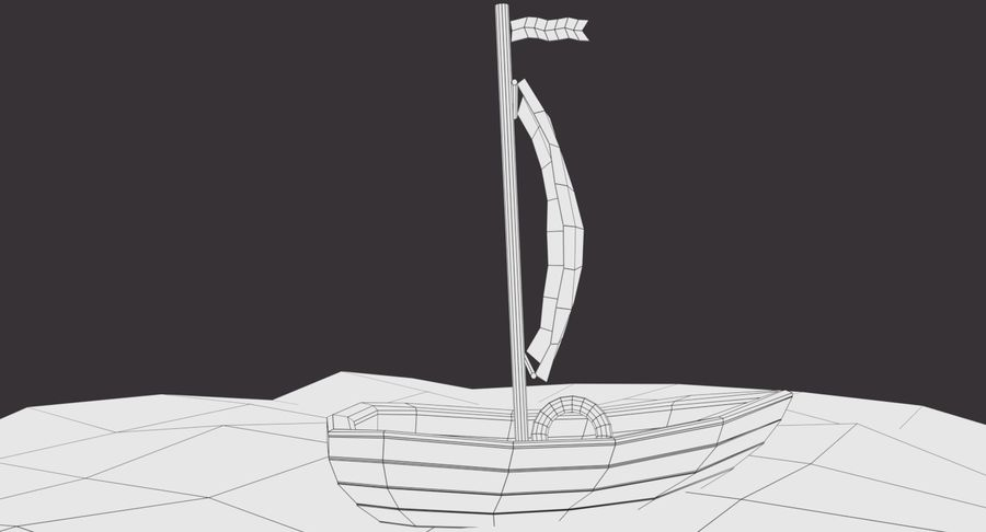 Cartoon Segelboot royalty-free 3d model - Preview no. 9
