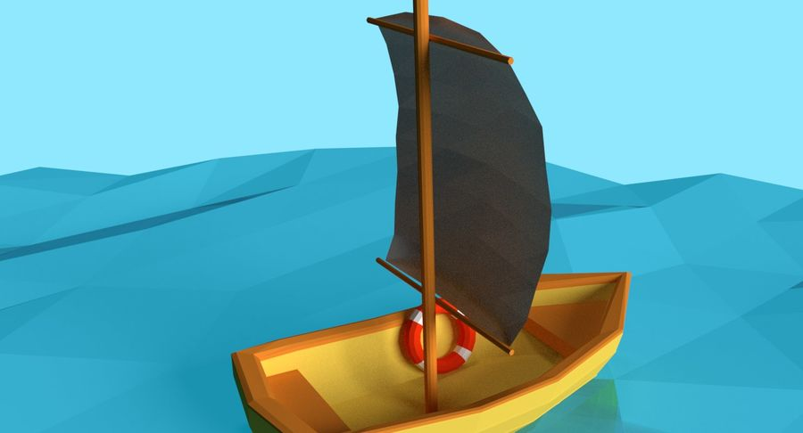 Cartoon Segelboot royalty-free 3d model - Preview no. 4