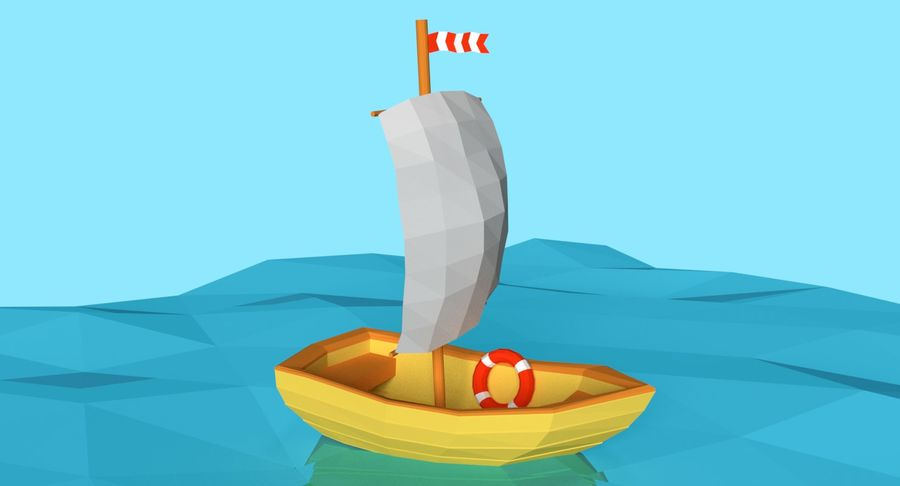 Cartoon Segelboot royalty-free 3d model - Preview no. 2