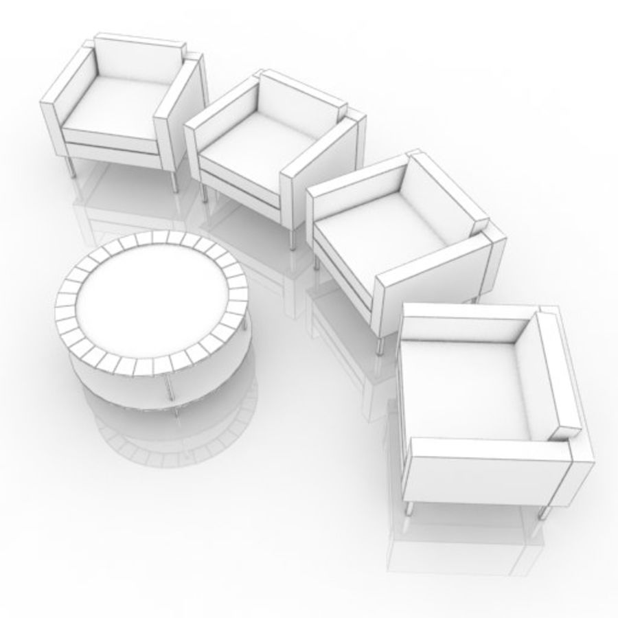 ソファと丸テーブル royalty-free 3d model - Preview no. 4