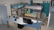 Mieszkanie uniwersyteckie Śliczne wnętrze sceny 3d model