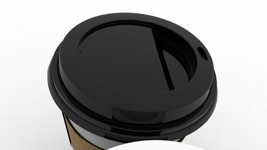 3D Paper Coffee Cup (3 different styles Cups & Caps) royalty-free 3d model - Preview no. 4
