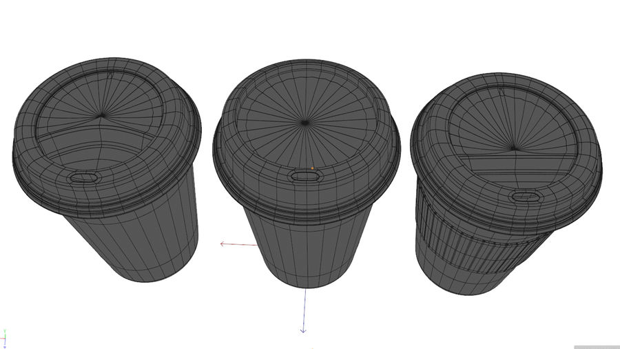 3D Paper Coffee Cup (3 different styles Cups & Caps) royalty-free 3d model - Preview no. 9