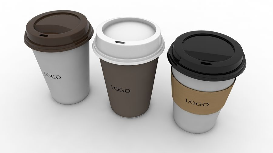 3D Paper Coffee Cup (3 different styles Cups & Caps) royalty-free 3d model - Preview no. 1