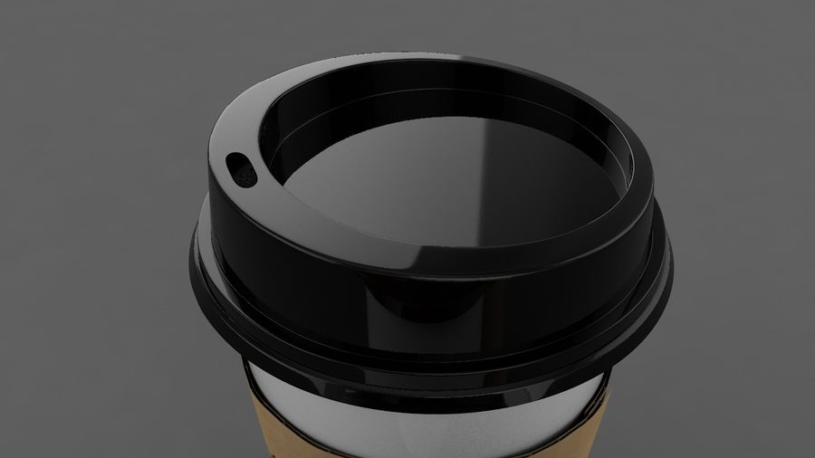 3D Paper Coffee Cup (3 different styles Cups & Caps) royalty-free 3d model - Preview no. 5