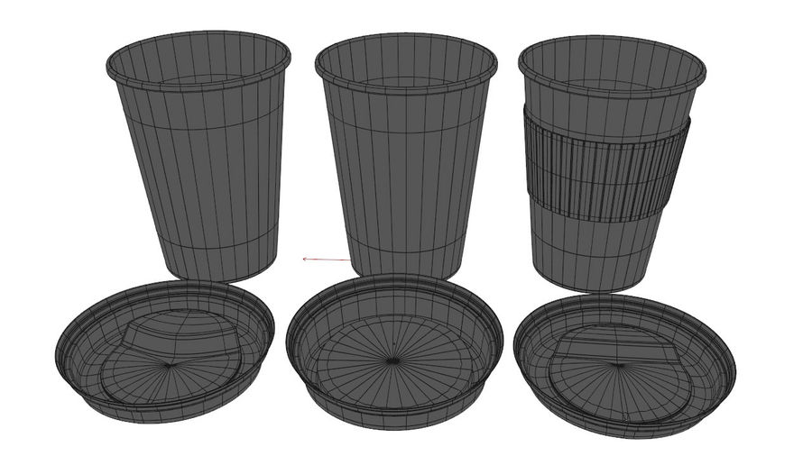 3D Paper Coffee Cup (3 different styles Cups & Caps) royalty-free 3d model - Preview no. 8