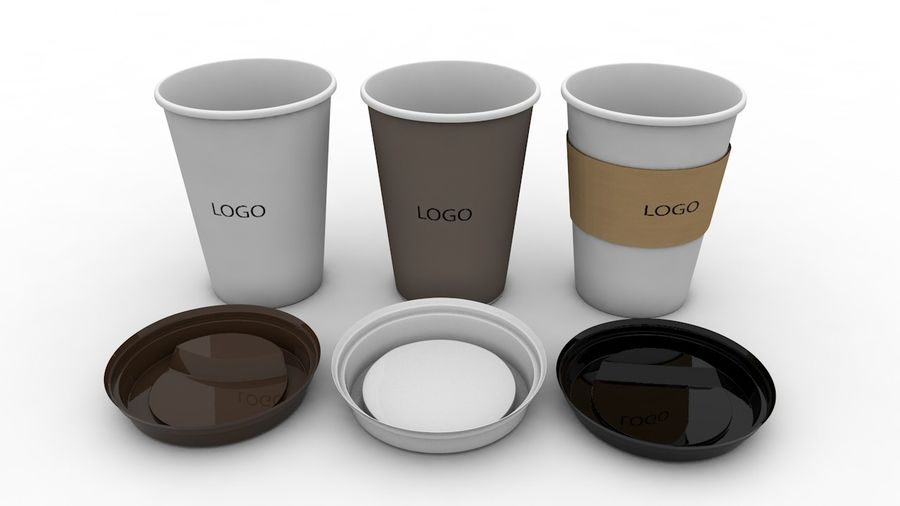 3D Paper Coffee Cup (3 different styles Cups & Caps) royalty-free 3d model - Preview no. 7
