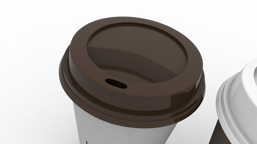 3D Paper Coffee Cup (3 different styles Cups & Caps) royalty-free 3d model - Preview no. 6