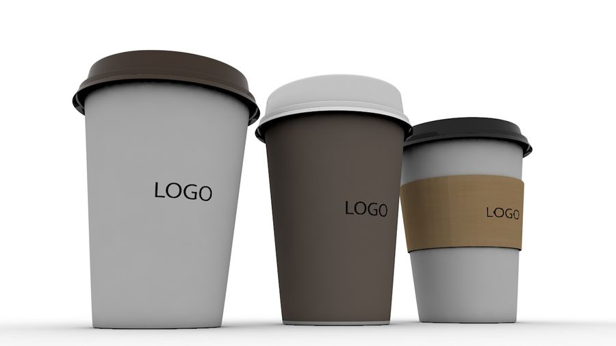 3D Paper Coffee Cup (3 different styles Cups & Caps) royalty-free 3d model - Preview no. 2