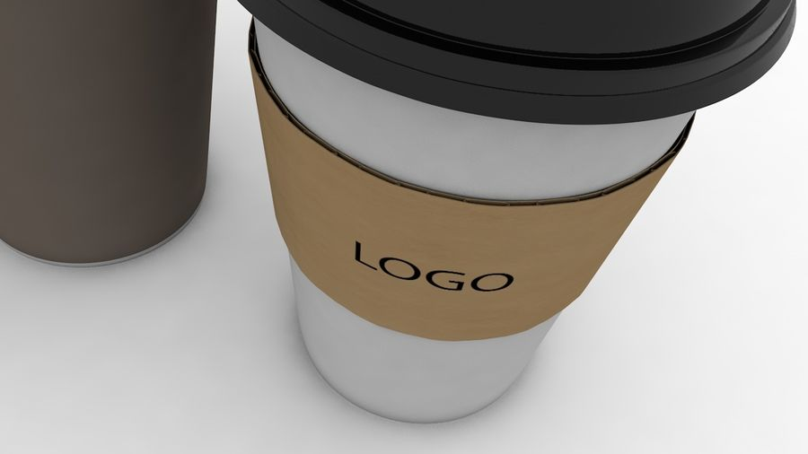 3D Paper Coffee Cup (3 different styles Cups & Caps) royalty-free 3d model - Preview no. 3