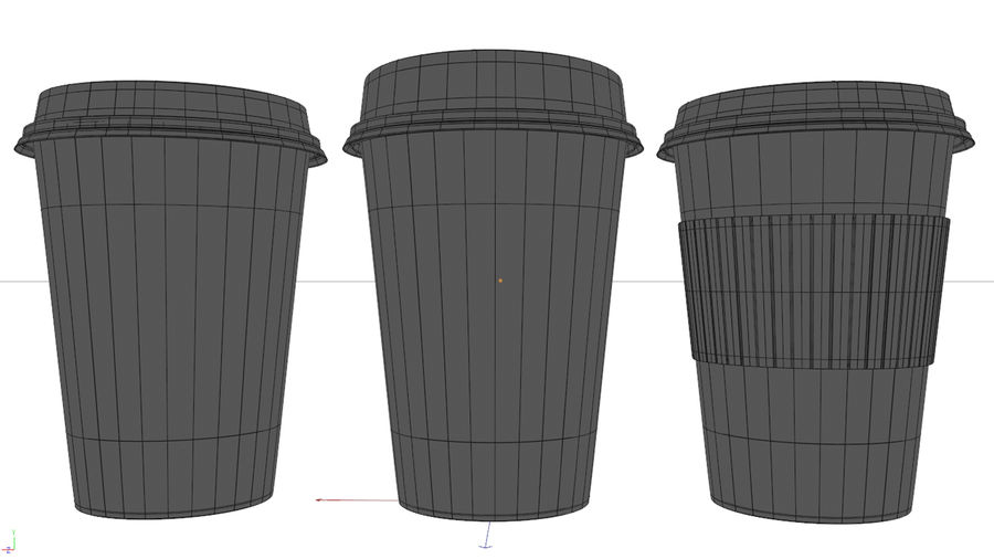 3D Paper Coffee Cup (3 different styles Cups & Caps) royalty-free 3d model - Preview no. 10