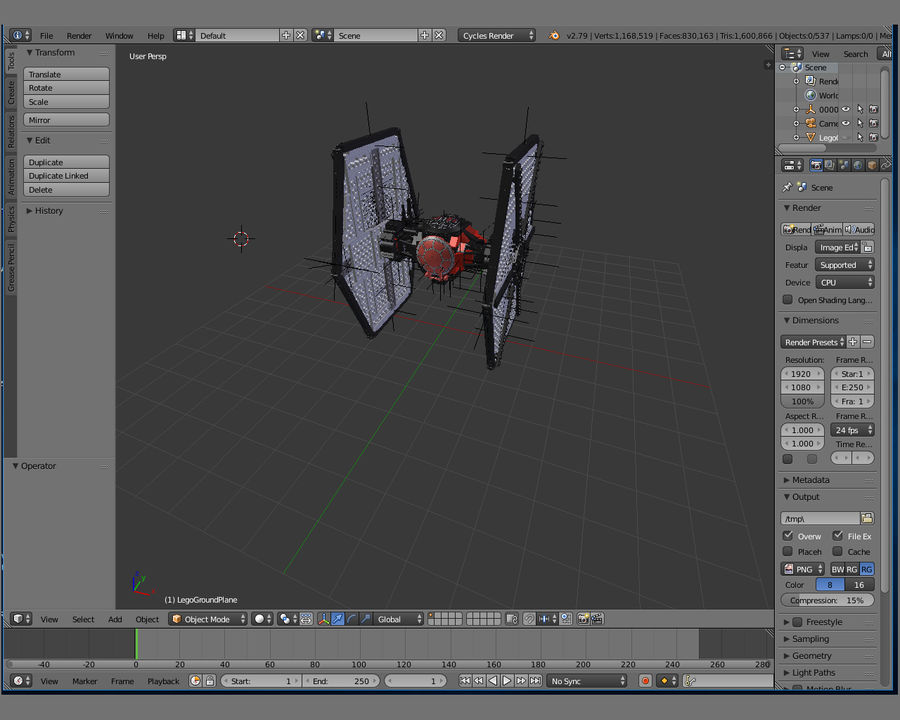 Lego First Order Special Forces TIE fighter royalty-free 3d model - Preview no. 9