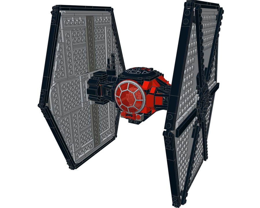 Lego First Order Special Forces TIE fighter royalty-free 3d model - Preview no. 8