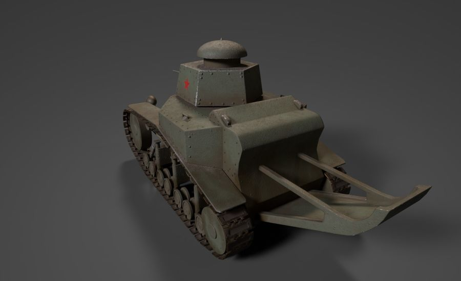 URSS Tank MS-1 ou T-18 royalty-free 3d model - Preview no. 4