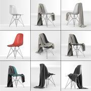 Hoog poly-model van Eames Plastic DSR-stoel: Charles & Ray Eames met dekendoek 3d model