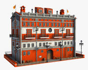Fantasie oranje gebouw 3d model