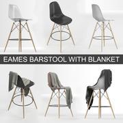 Hoogwaardig 3D-model van Vitra Eames Plastic DSW barkruk van Charles & Ray Eames met dekendoek 3d model