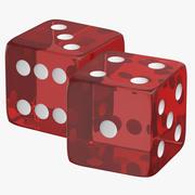 红色透明骰子01 3d model