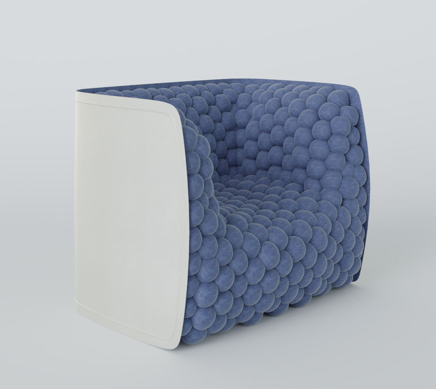 Armchair soft cubes modern royalty-free 3d model - Preview no. 11