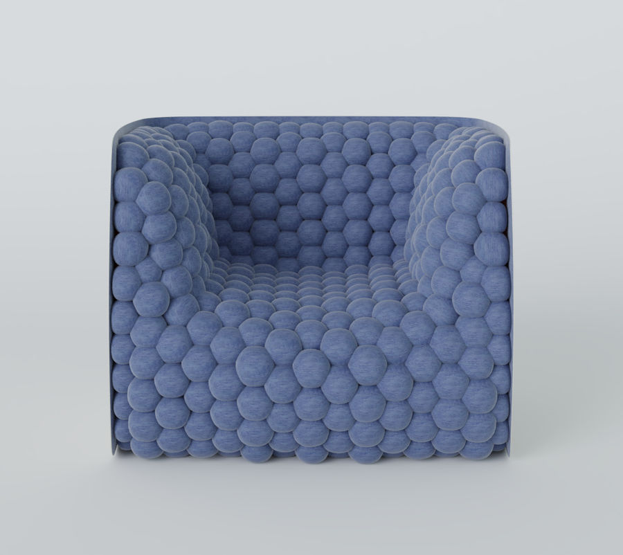 Armchair soft cubes modern royalty-free 3d model - Preview no. 12