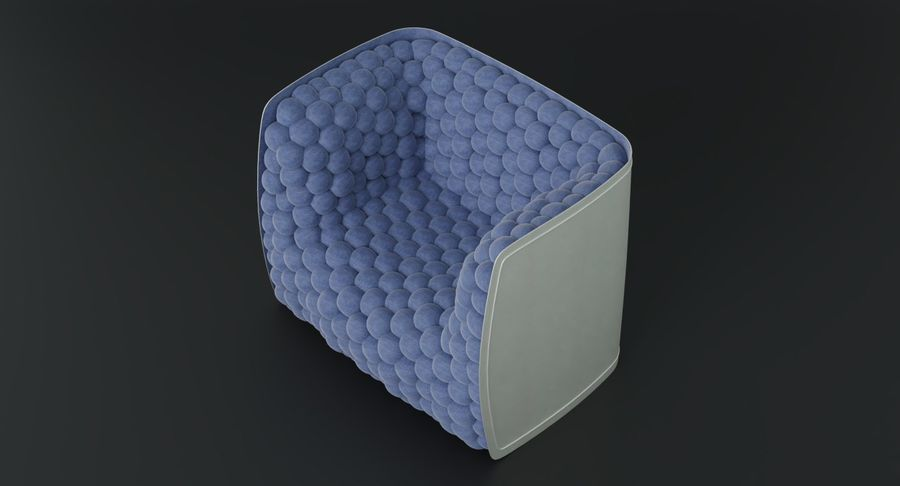 Armchair soft cubes modern royalty-free 3d model - Preview no. 9