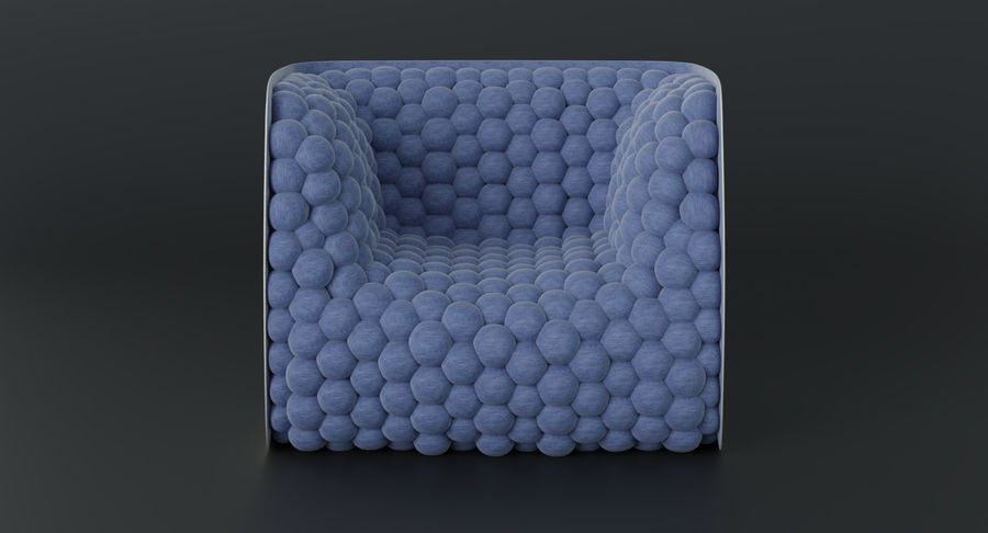 Fåtölj mjuka kuber modern royalty-free 3d model - Preview no. 6