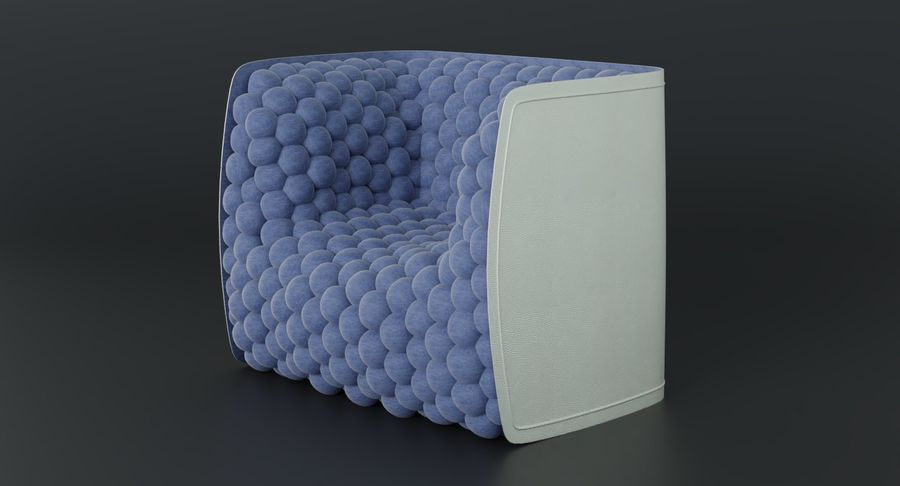 Armchair soft cubes modern royalty-free 3d model - Preview no. 5