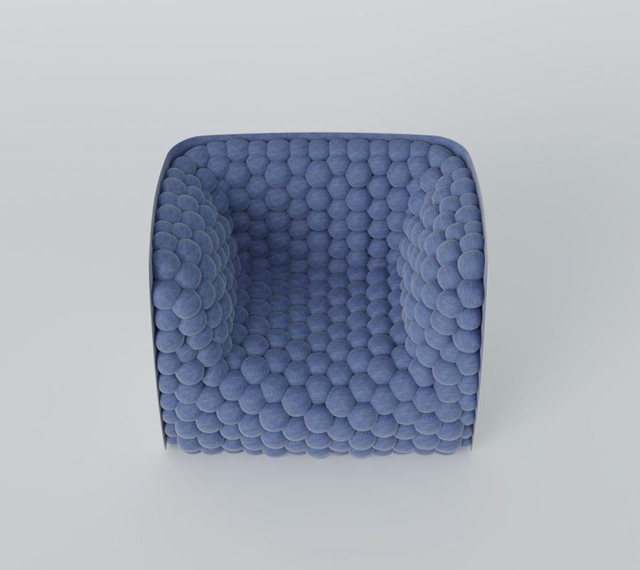 Armchair soft cubes modern royalty-free 3d model - Preview no. 10